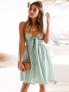 Striped Spaghetti-neck Bowknot Mini Dress GREEN L