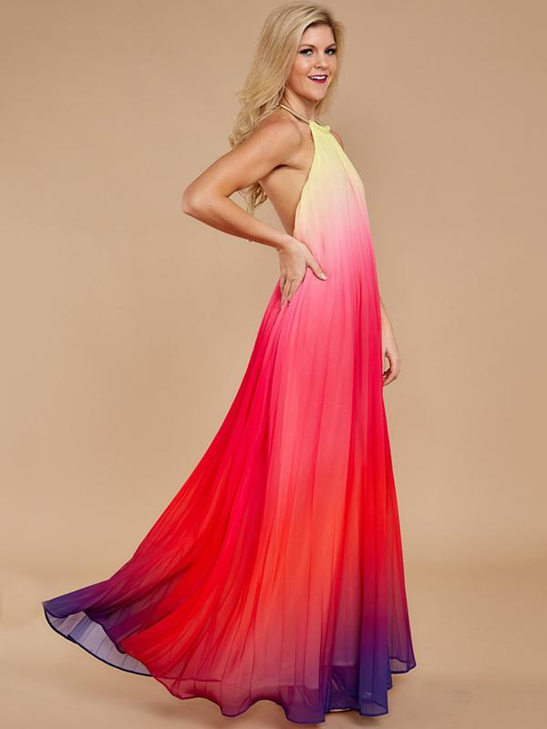 Backless Halterneck Gradient Maxi Dress RED XL