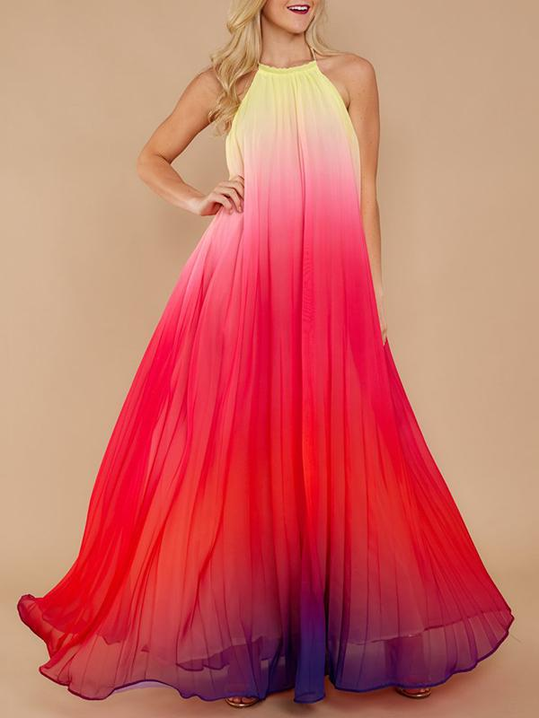 Backless Halterneck Gradient Maxi Dress RED S