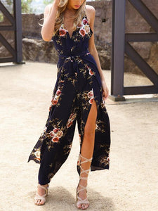 Backless Split-side Printed Bohemia Jumpsuits BLUE S