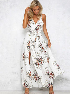 Backless Split-side Printed Bohemia Jumpsuits WHITE S