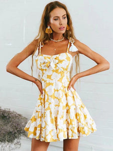 Printed Spaghetti-neck Mini Dress YELLOW M