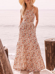 Printed Backless Halterneck Maxi Dress CREAMY S
