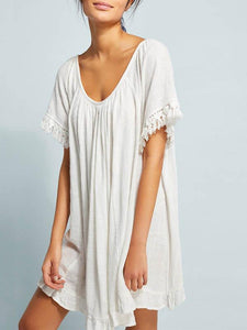 White Loose Short Sleeves Beach Cover-Ups WHITE FREE SIZE