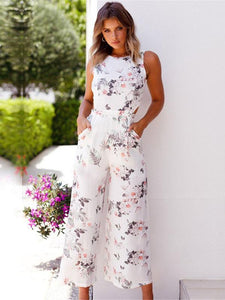 Bohemia V-back Sleeveless Floral Printed Jumpsuits WHITE XL