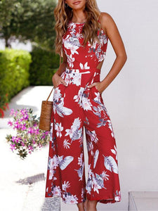 Bohemia V-back Sleeveless Floral Printed Jumpsuits RED S