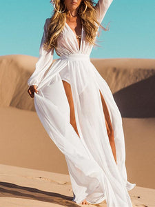Deep V-Neck Split-side Beach Cover-ups WHITE FREE SIZE