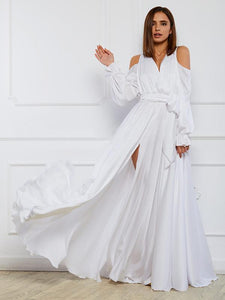 Bohemia V-Neck Long sleeves Off shoulder Split-side Maxi Dress WHITE M