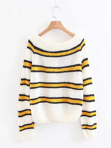 Knitting Striped Puff Sleeve Sweater Tops BLUE WHITE