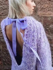 Solid Color Backless Hollow Bandage Sweater Tops PURPLE FREE SIZE