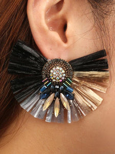 Vintage Ethnic-style Earrings BLACK FREE SIZE