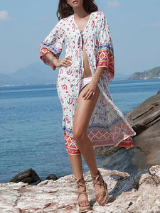 Sun-protected Printed Beach Long Cover-ups SAME AS PICTURE M