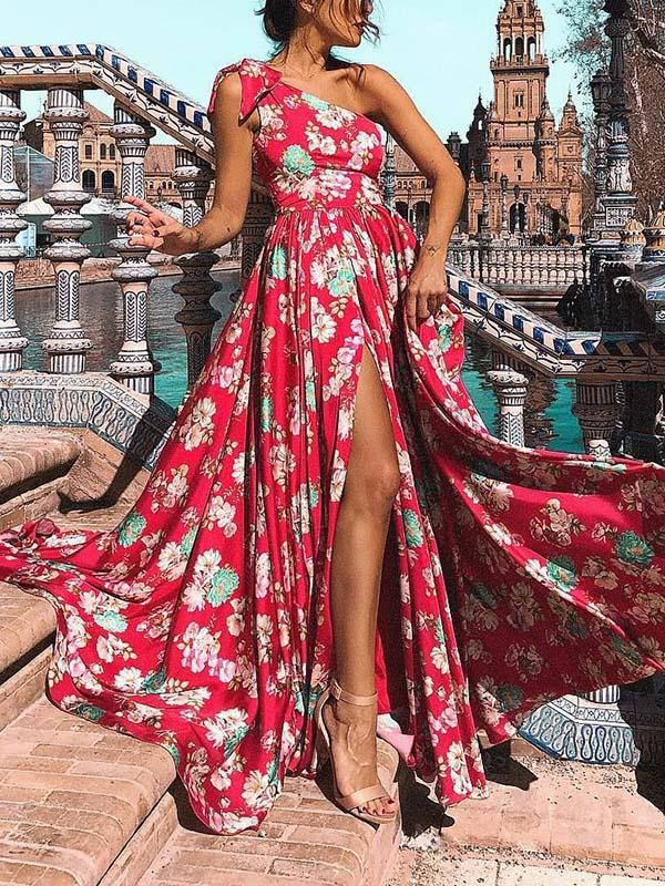 Bohemia Floral One-Shoulder Split Maxi Dress RED S