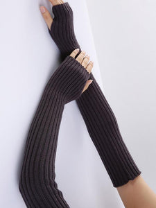 Knitted Solid Color Sleevelet Accessories DEEP GRAY
