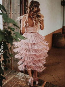 Spaghetti-neck Stacked Tassels Midi Dress PINK S