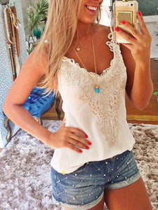 2019 Fashion Lace Tank Top Summer Spring Shirt BLACK S
