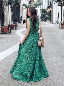 Green Bohemia Sleeveless Printed Maxi Dress GREEN S