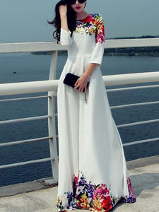 Printed Round Neck Maxi Dress S
