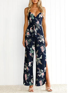 Floral Backless Split-side Wide Leg Jumpsuits Bottoms S