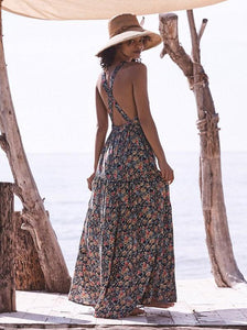 Printed Backless Halterneck Maxi Dress BLACK L