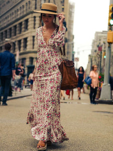V-neck Floral-Print Bohemia Maxi Dress 2XL(Bust39.3 Length50.4)