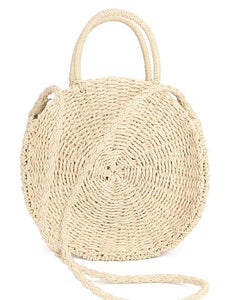 Round Straw Plaited Article Bohemia Bag CREAMY FREE SIZE