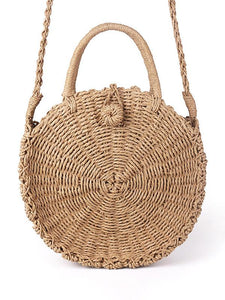 Round Straw Plaited Article Bohemia Bag LIGHT COFFEE FREE SIZE