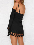 Lacy Split-joint Spaghetti-neck Mini Dress BLACK S