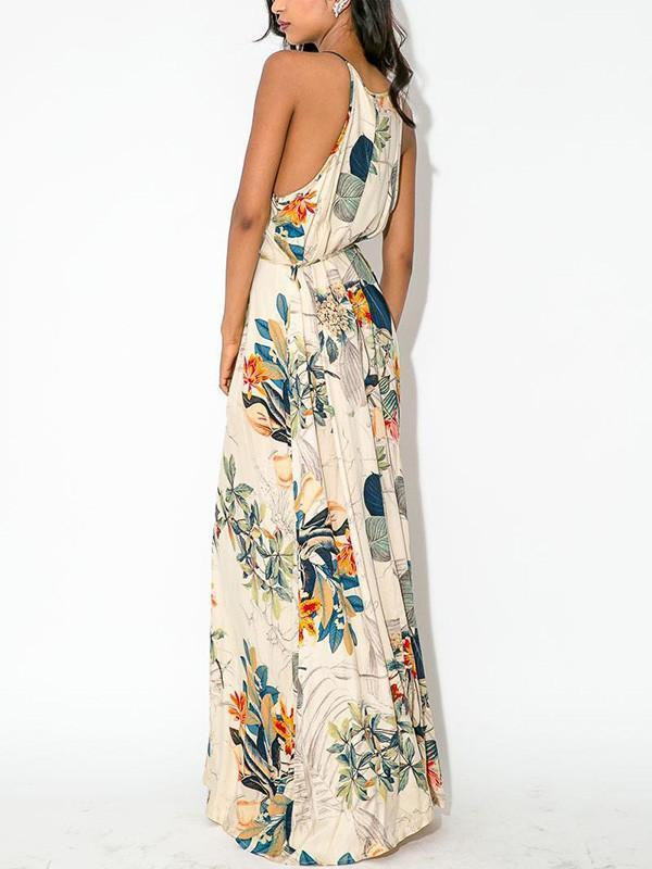 Elegant Floral Bohemia Spaghetti Straps Round Neck Side Split Maxi Dress 2XL