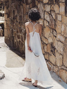 Lace Bandage Backless Maxi Dress WHITE L