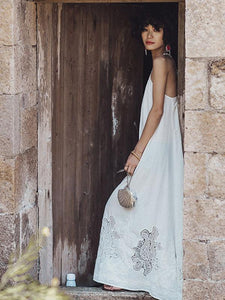 Lace Bandage Backless Maxi Dress WHITE M