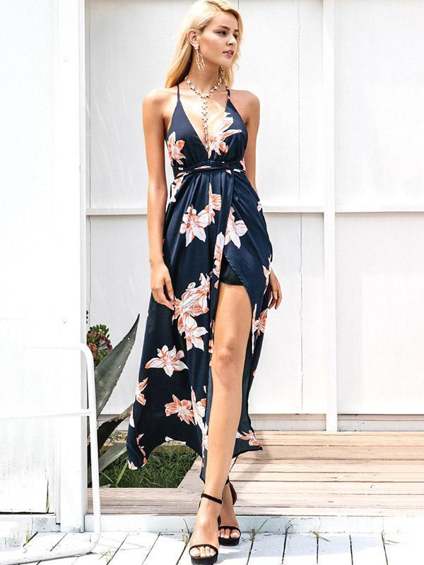 Printed Backless Split-side Maxi Dress XL