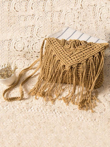 Bohemia Knitted Crossbody Tasseled Bag CAMEL