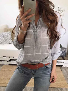 V-neck Plaid Long Sleeves Blouses\u0026shirts Tops M