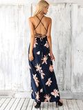 Printed Backless Split-side Maxi Dress L