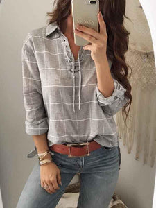 V-neck Plaid Long Sleeves Blouses\u0026shirts Tops XL