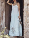 Lace Bandage Backless Maxi Dress WHITE S