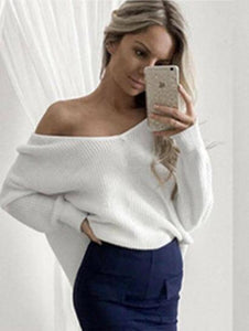 Solid Color Asymmetric V-neck Loose Sweater Tops WHITE M