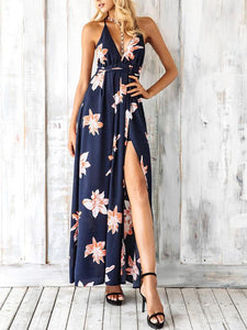 Printed Backless Split-side Maxi Dress S