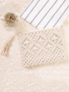 Knitted Bohemia Tasseled Handbag WHITE