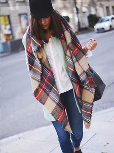 Fashion WarmerChecked Cape Scarf COLOR