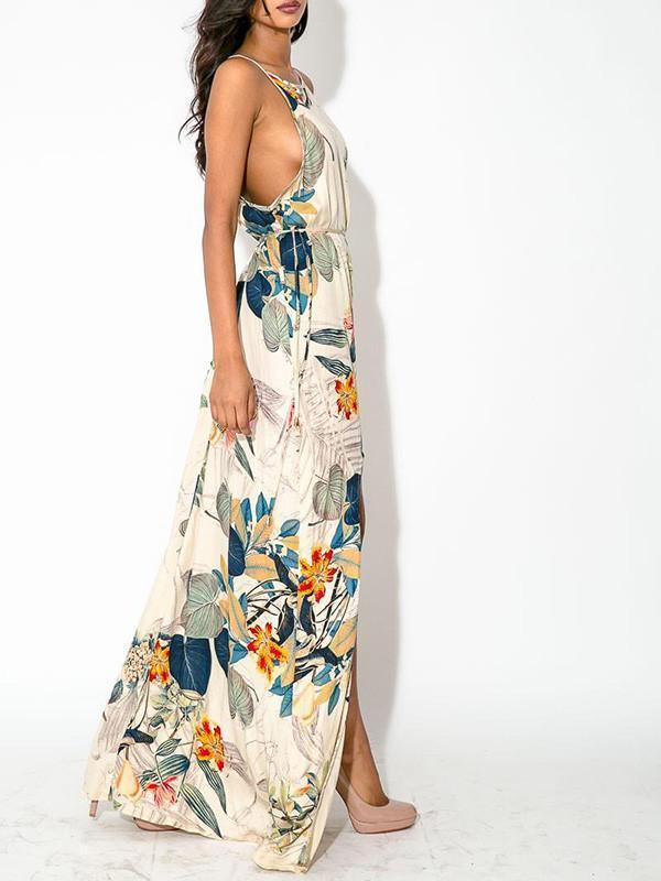 Elegant Floral Bohemia Spaghetti Straps Round Neck Side Split Maxi Dress L