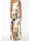 Elegant Floral Bohemia Spaghetti Straps Round Neck Side Split Maxi Dress XL