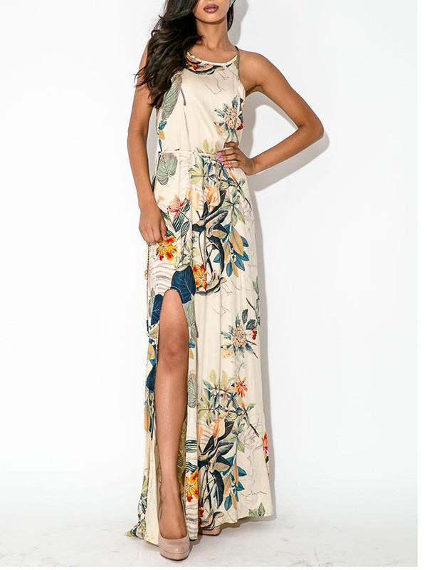 Elegant Floral Bohemia Spaghetti Straps Round Neck Side Split Maxi Dress S