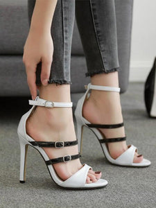 Solid Colors Bandge High Heels WHITE 39