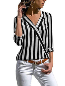 Striped V-neck Loose Blouses\u0026shirts Tops BLACK S