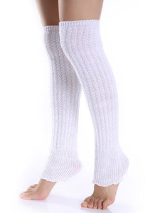 Fashion Knitting Over Knee-high Solid Color Stocking LIGHT GRAY FREE SIZE
