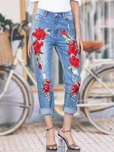 Pretty Embroidered Jean Pants Bottoms BLUE S