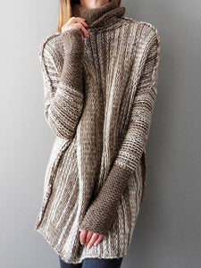 Fashion High-neck Knitting Sweater Tops COFFEE S