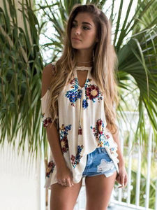 Pretty Floral Blouses\u0026Shirts Top XL